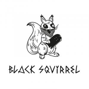 logo black squirrels club de skate de biscarrosse