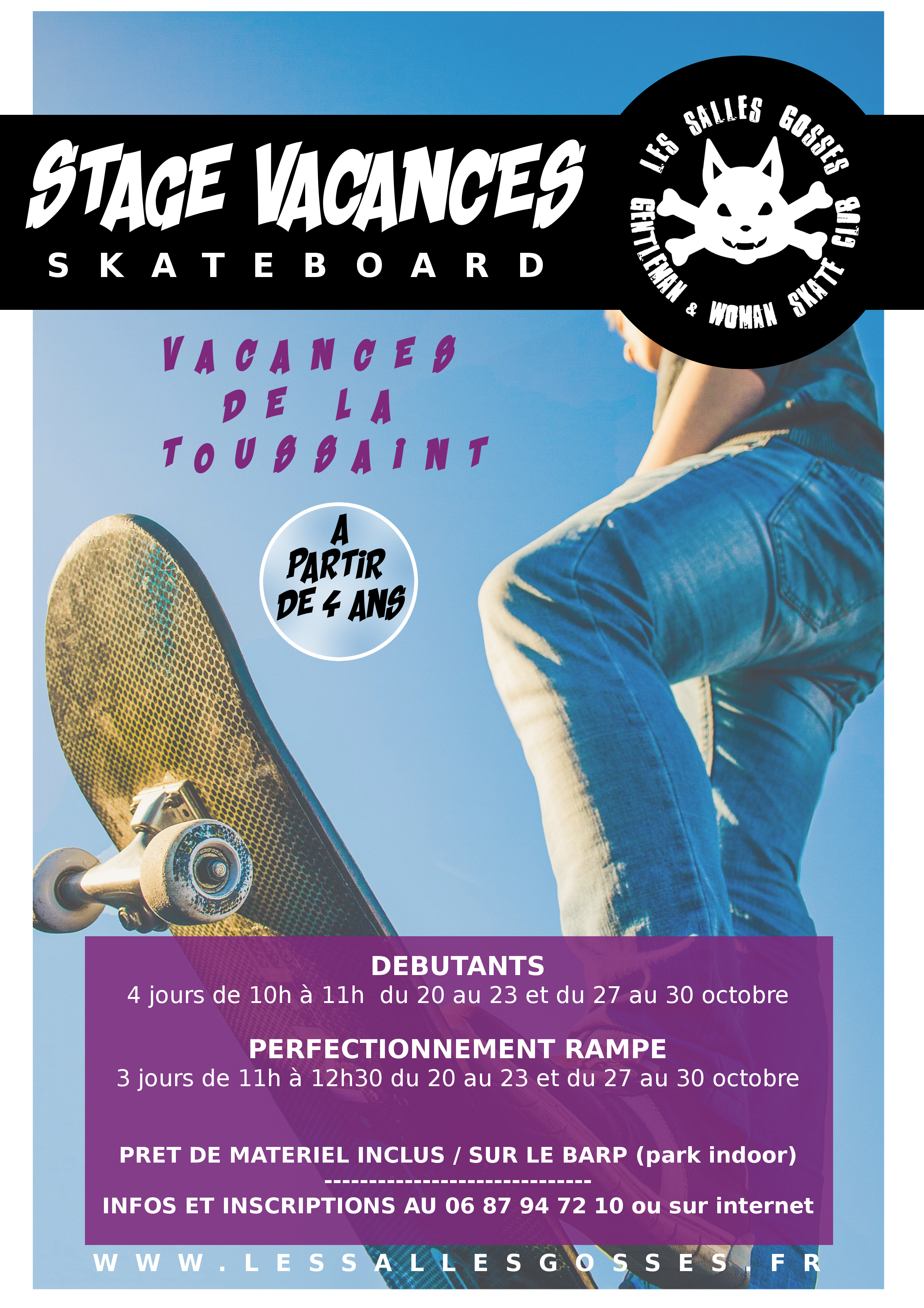 stage skate vacances scolaires