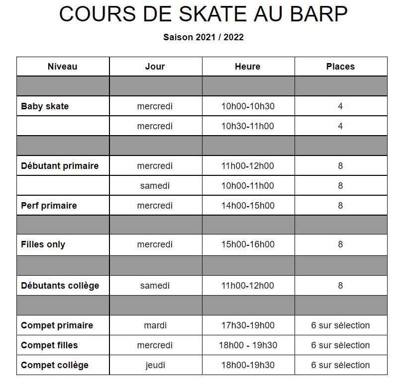 planning cours de skate